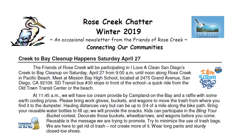 Rose Creek Chatter Winter 2019 Preview
