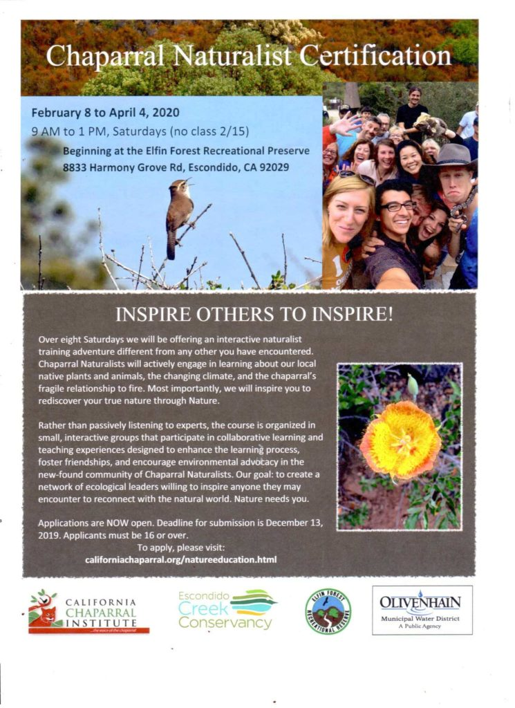 Flyer for Naturalist Training