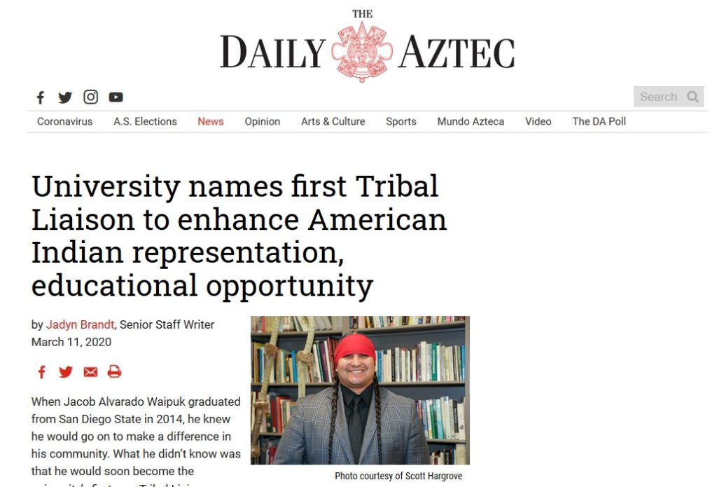 Screen shot of Daily Aztec