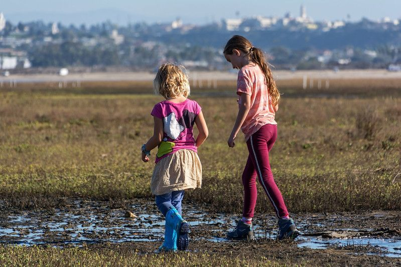 Photos of kids in Kendall-Frost wetlands
